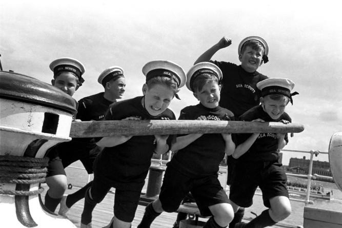 Aye Aye Captain Sea Scouts from West Kirby seen here aboard Captain Scott's ship the Discovery. June 1952 C2842 - 002